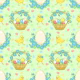 Green Easter background with chickens Stock Photos