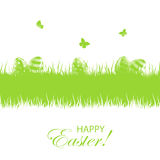 Green Easter background with eggs Royalty Free Stock Photo
