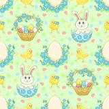 Green Easter background with rabbit Stock Photos