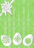 Green easter background with white ribbon rosette on top corner, paper cut easter eggs bottom, place for own text, offer, announce. Ment, invitation, nice easter Stock Image