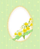 Green easter card. Green Easter egg with flowers Royalty Free Stock Images