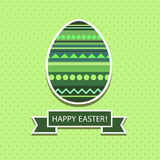 Green Easter card. Vector Easter card in shades of green with a picture of the eggs, and the inscription tape and shadow Stock Photography