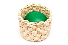 Green Easter Egg In Basket Royalty Free Stock Photo