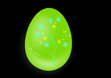 Green easter egg. Easter egg on a black background Royalty Free Stock Image