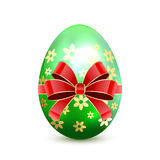 Green Easter egg with bow Stock Photos