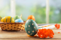 Green Easter egg and flower Royalty Free Stock Photography