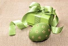 Green Easter egg and gift box Royalty Free Stock Photo