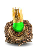 Green easter egg with golden crown decoration. In wooden nest isolated on white background Stock Photos