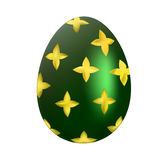 Green easter egg with golden pattern. On white background royalty free illustration