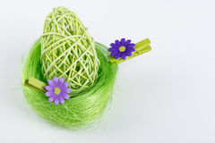 Green Easter Egg in green nest with grey background. Green Easter Egg in green nest Royalty Free Stock Images