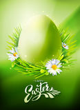 Green Easter Egg Hunt poster. Easter Egg Hunt poster. Vector illustration. Greeting card with calligraphy, green grass and flowers. Vertical poster stock illustration