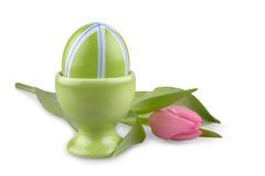 Green Easter eggs with pink tulip, isolated Royalty Free Stock Photos