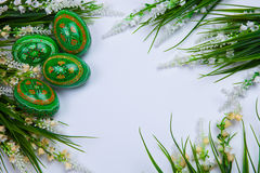 Green Easter Eggs on White Background Royalty Free Stock Images