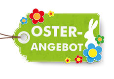 Green Easter Offer Price Sticker. Infographic with price sticker the white background. German text Oster-Angebot, translate Easter Offer Royalty Free Stock Photo