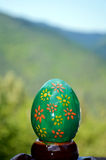 Green easter painted egg Royalty Free Stock Photos