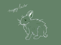 Green Easter postcard with hare. And hand written text available in  format Stock Photo