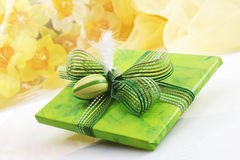 Green easter present with ribbon and easter egg Stock Photography