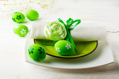 Green Easter table place setting Royalty Free Stock Photos