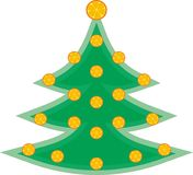 Green easy tree with the drying oranges Stock Photography