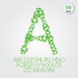 Green Eco Alphabet and Digit Vector Royalty Free Stock Images