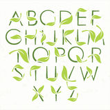 Green eco alphabet with leaves Stock Photography