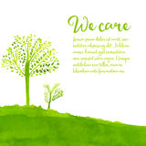 Green eco background with hand painted trees Stock Images