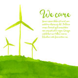 Green eco background with hand painted wind Royalty Free Stock Images
