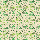 Green eco background made of small ecology green houses and tree. S - vector seamless pattern Royalty Free Stock Images