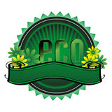 Green eco badge Stock Images
