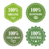 Green eco badges. Organic, handmade, vegetarian, natural. Green badges, stickers, logo, stamp. Hundred percent organic, BIO product, Fresh farm and Veggie food Stock Photo