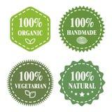 Green eco badges. Organic, handmade, vegetarian, natural Stock Photo