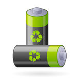 Green eco batteries isolated. Illustration for two renewable batteries, refer also to environment, new clean energy and future power Royalty Free Stock Photos