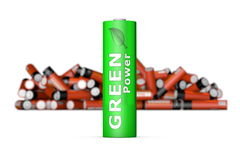 Green Eco Battery in Front. Modern green ecological battery stands in front of a blurry bunch of obsolete old red batteries Royalty Free Stock Photos