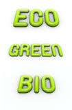 Green , eco and bio in 3d glossy bubble fonts Royalty Free Stock Images