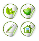 Green, eco, bio label, sticker set Royalty Free Stock Images