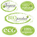Green, eco, bio and organic labels and stickers on a white backg Stock Photo