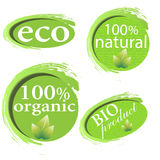 Green, eco, bio and organic labels and stickers on a white background Stock Image
