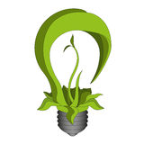 Green eco bulb. Vector eps10. Green eco energy concept, plant growing inside the bulb. Vector eps10 stock illustration