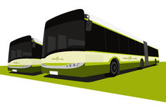Green eco buses. Vector illustration of nature friendly buses Royalty Free Stock Photo