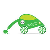 Green eco car with plug vector illustration Stock Photography