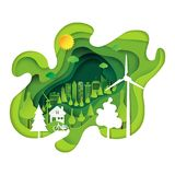 Green eco city abstract paper art background Stock Photos