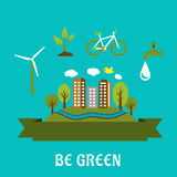 Green eco city flat design Stock Photos