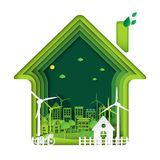 Green eco city with house and tree abstract paper art  Stock Photo