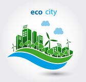 Green eco city with houses Stock Photo
