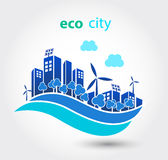 Green eco city with houses Royalty Free Stock Photos