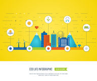 Green eco city infographic. Ecology concept, Royalty Free Stock Photography