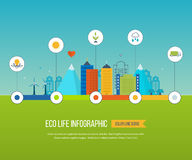 Green eco city infographic. Ecology concept, Royalty Free Stock Images