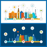 Green eco city infographic. Ecology concept, Stock Photo