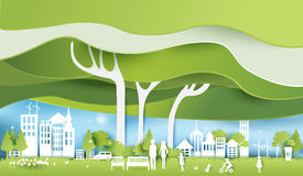 Green eco city and life paper art style, urban landscape Stock Image