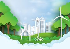 Green eco city with nature background template paper art style Stock Photography